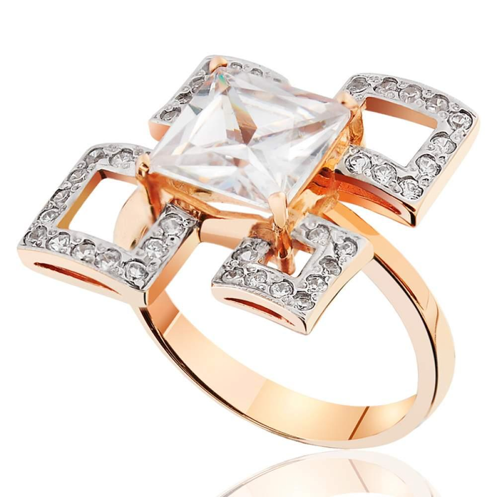 "Золотое кольцо с цирконами ""Геометрия"", КД0348 Eurogold"