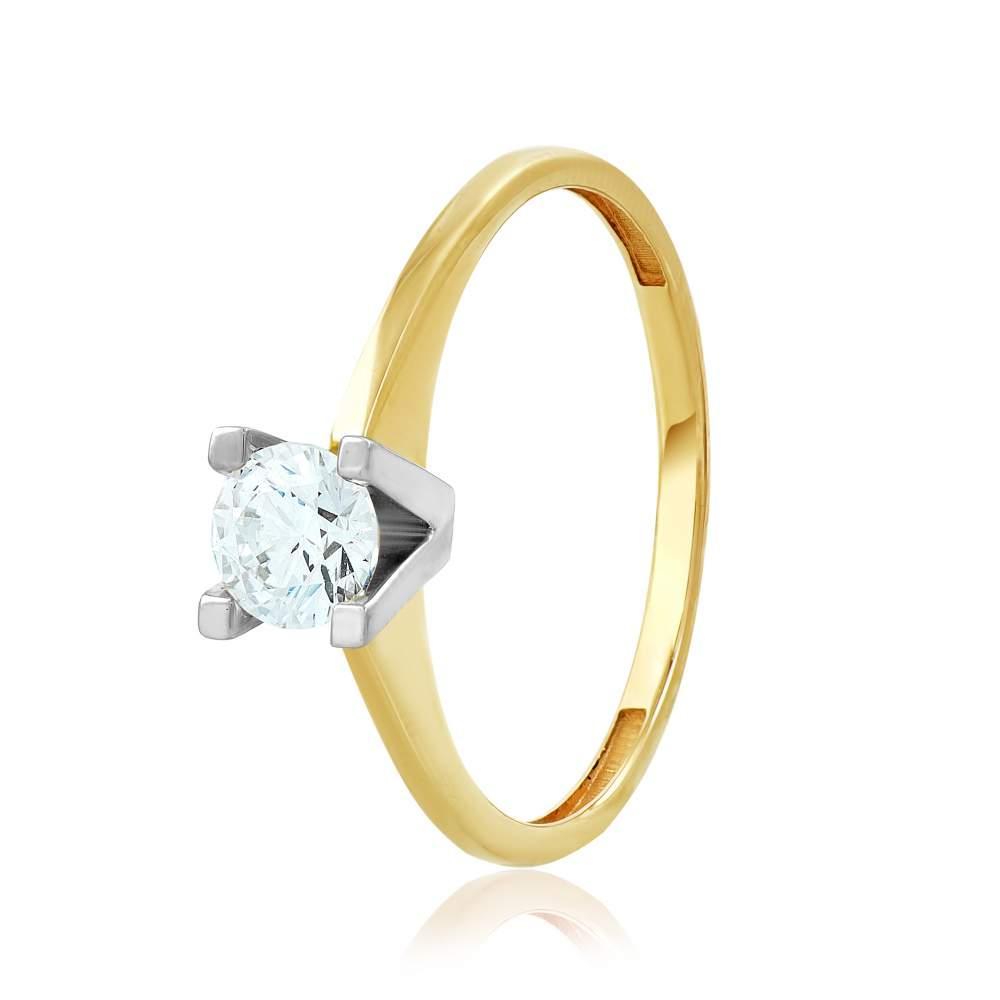 """Золотое кольцо с фианитом SWAROVSKI Zirconia """"Амстердам"""", КД4116/2SW Eurogold"""