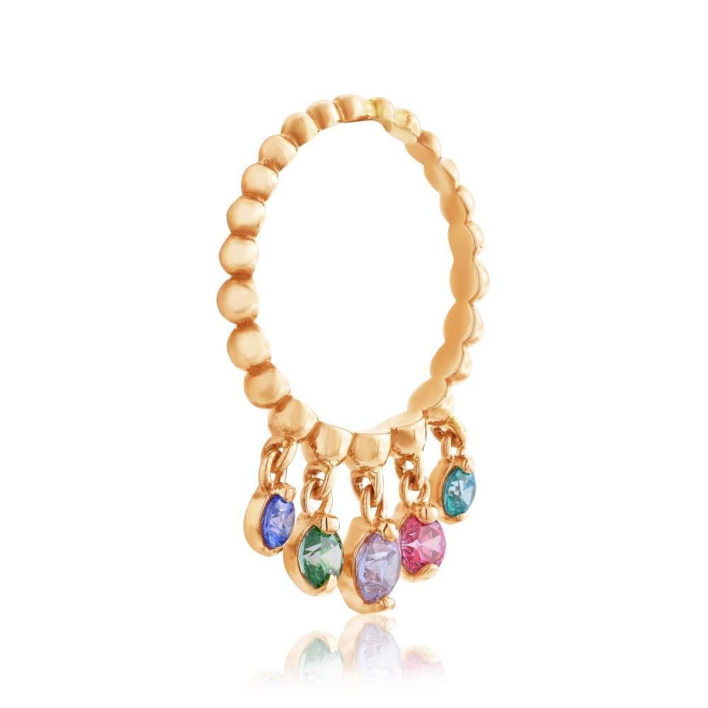 """Золотое кольцо с камнями SWAROVSKI Zirconia """"Лея"""", КД4158SWCOLOR Eurogold"""