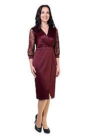 Современное модное платье бордового цвета с 3/4 рукавом  8512