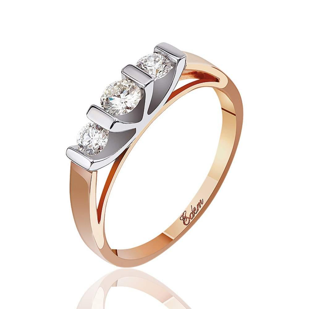 "Кольцо из комбинированного золота с тремя бриллиантами ""Тринити"", КД7509 Eurogold"