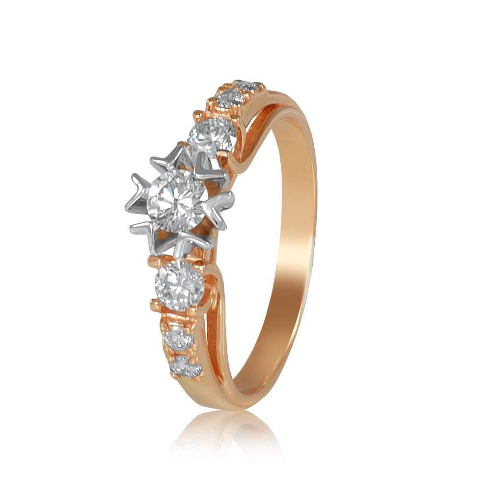 "Кольцо из комбинированного золота с бриллиантами ""Диво"", КД7540 Eurogold"