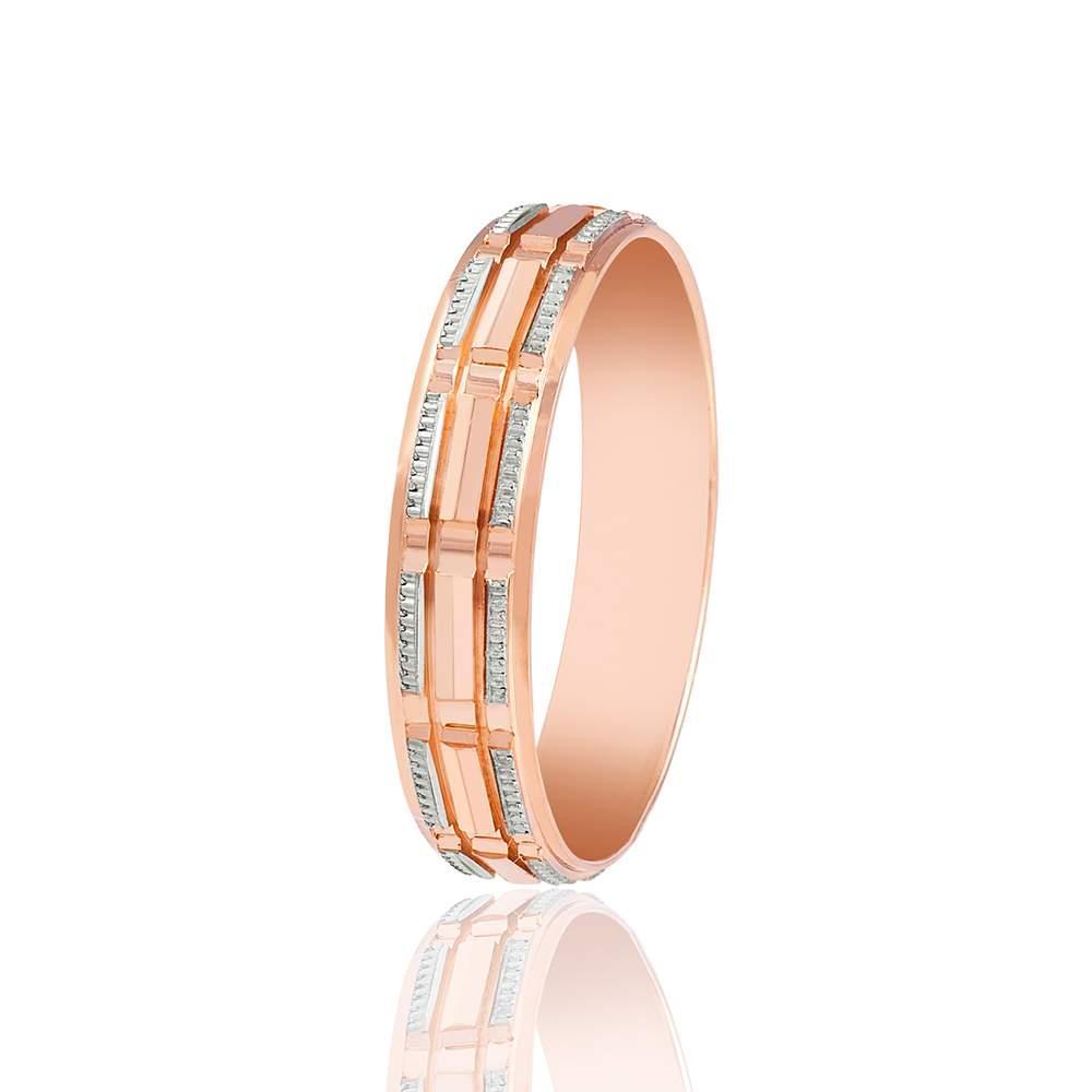 Классическое золотое обручальное кольцо с алмазной гранью, КОА034 Eurogold