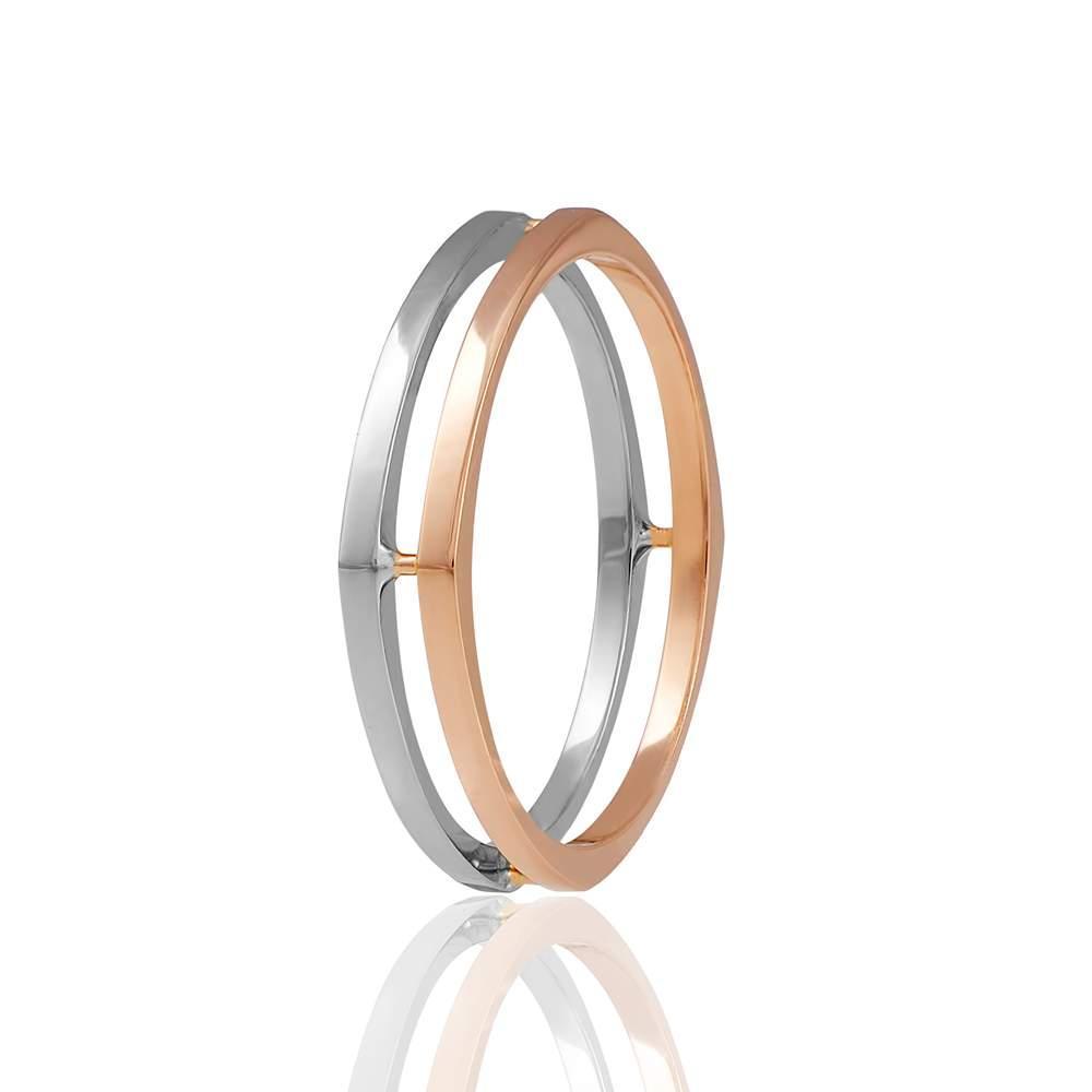 Двойное Обручальное кольцо, комбинированное золото, КОА115 Eurogold