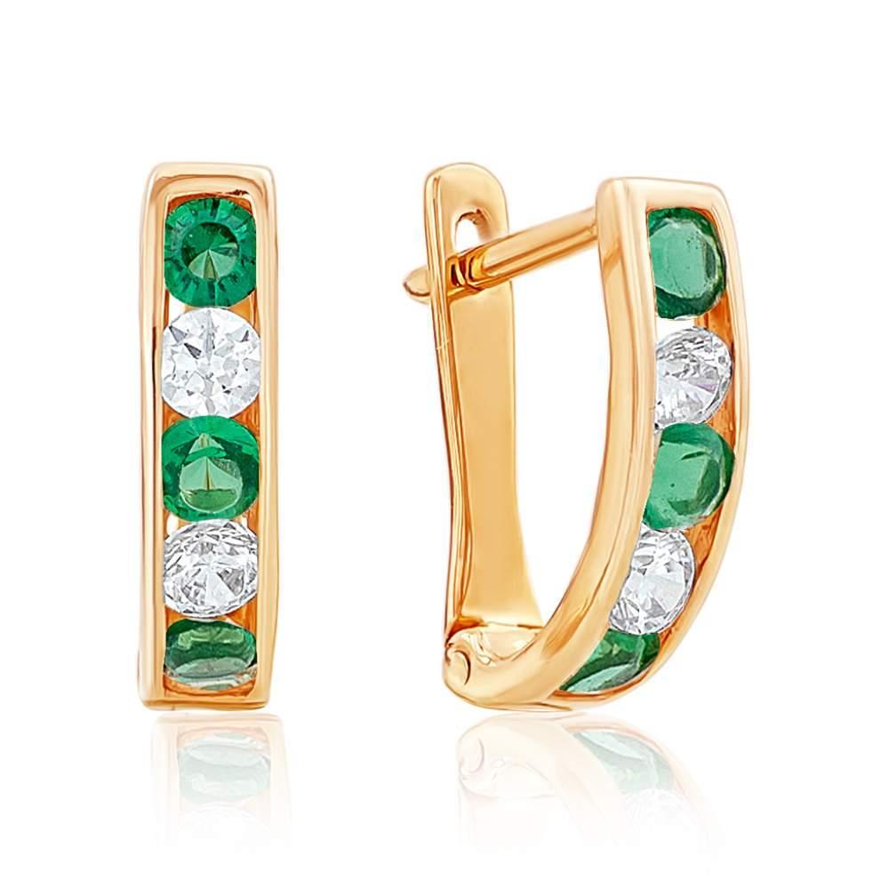 """Золотые серьги с белыми и зелёными цирконами """"Лето"""", красное золото, С0180З Eurogold"""