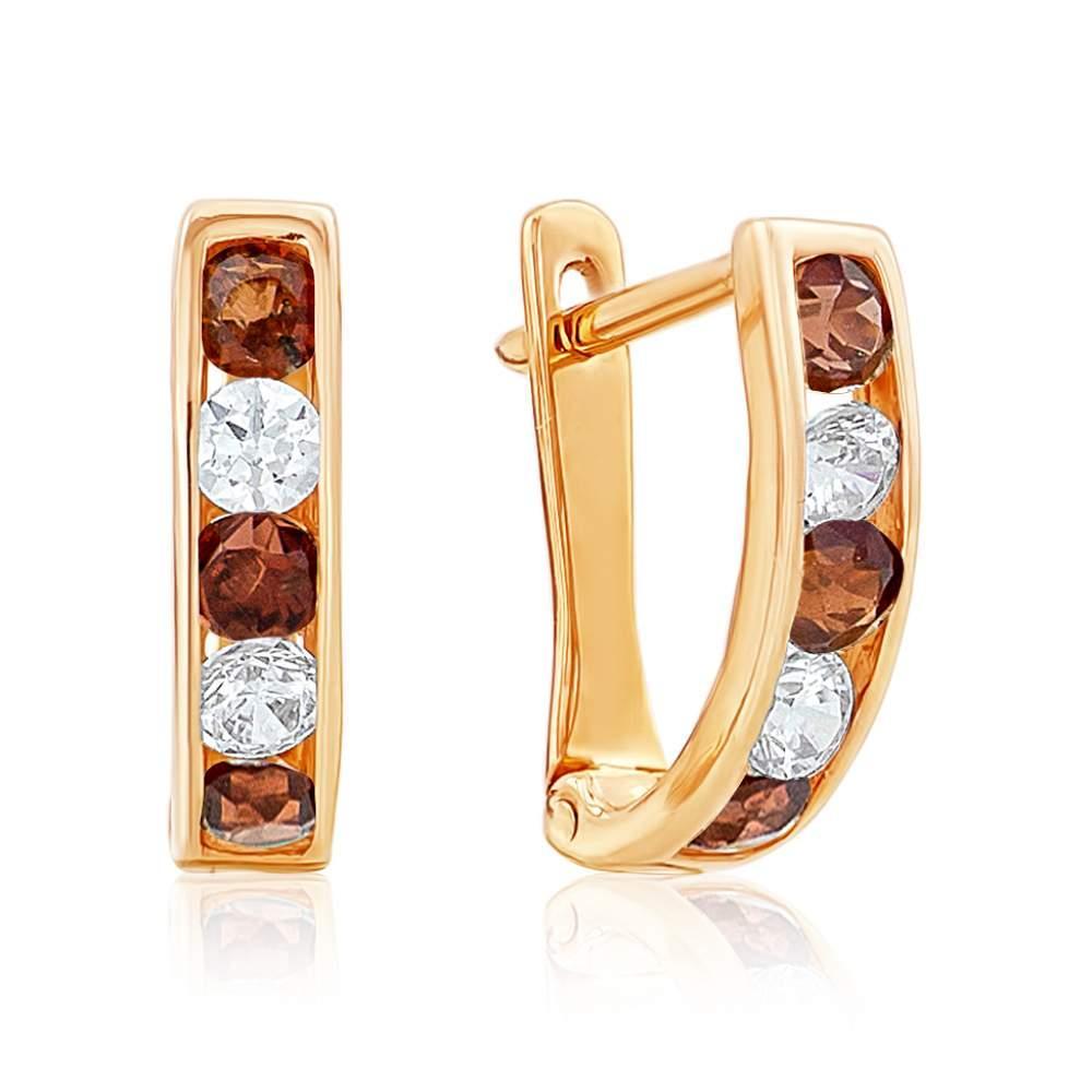 Серьги С0180К с камнем Циркон, красное золото Eurogold