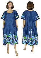 NEW! Летние женские платья больших размеров - серия Lana Batal Blue Roze коттон ТМ УКРТРИКОТАЖ!