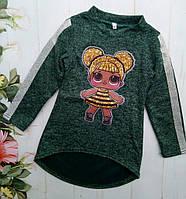 Детская утепленная  Лол пчелка туника на девочку р.104-128 темно-зеленый