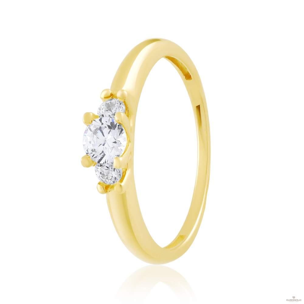 """Золотое кольцо с фианитом Swarovski """"Орион"""", желтое золото, КД4194/2SW Eurogold"""