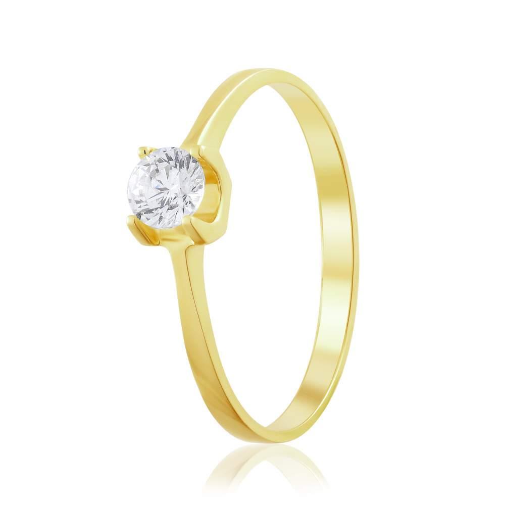 """Кольцо из желтого золота с камнем SWAROVSKI """"Ариадна"""", КД4199/2SW Eurogold"""