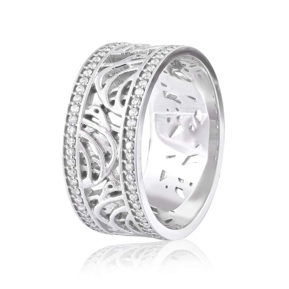 Кольцо из белого золота с бриллиантами, КД7588/1 Eurogold