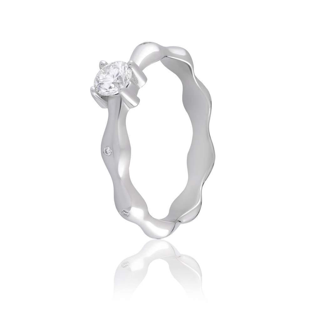 Кольцо из белого золота с бриллиантом, КД7590/1А Eurogold