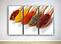 Картина модульная яркий декор для кухни Специи Перец Ложки со специями 90х60 из 3х частей
