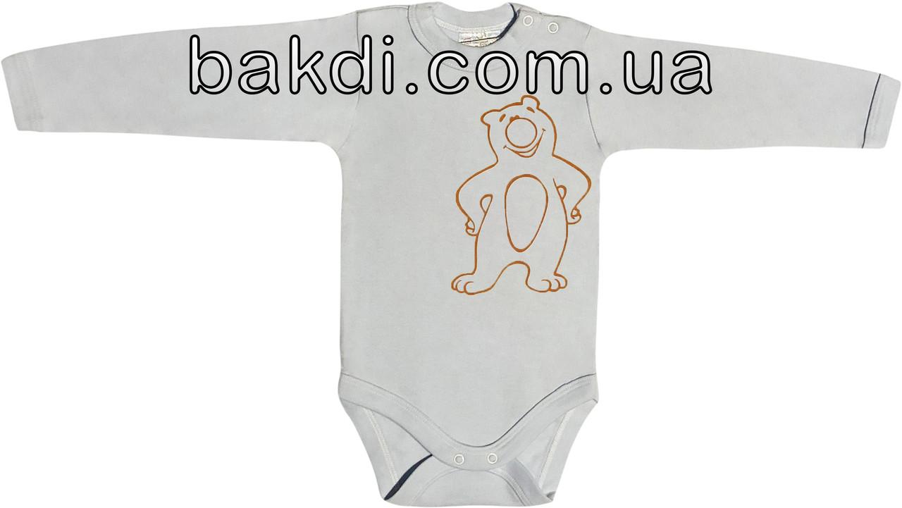 Детское боди на мальчика рост 62 2-3 мес для новорожденных трикотажное с длинным рукавом интерлок голубое