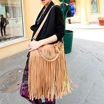 Стильная женская сумка с длинной бахромой, фото 3