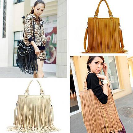 Стильная женская сумка с длинной бахромой, фото 2