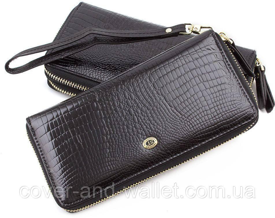 34f0ea084779 Красивый кожаный лаковый кошелек на молнии черного цвета Sergio Tadei AE 38