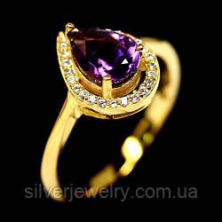 Серебряное кольцо с АМЕТИСТОМ (натуральный!!) серебро 925 пр. Размер 17,25