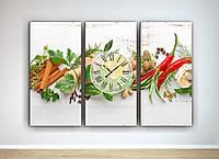 Картина настенные часы декор для кухни Красный перец Корица Натюрморт Овощи 90х60 из 3-х частей