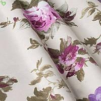 Декоративная ткань с крупными фиолетовыми и васильковыми цветами на веточках с тефлоном Турция 83562v15