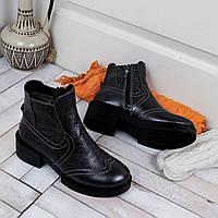 Женские ботинки на молнии короткие из натуральной кожи, фото 1