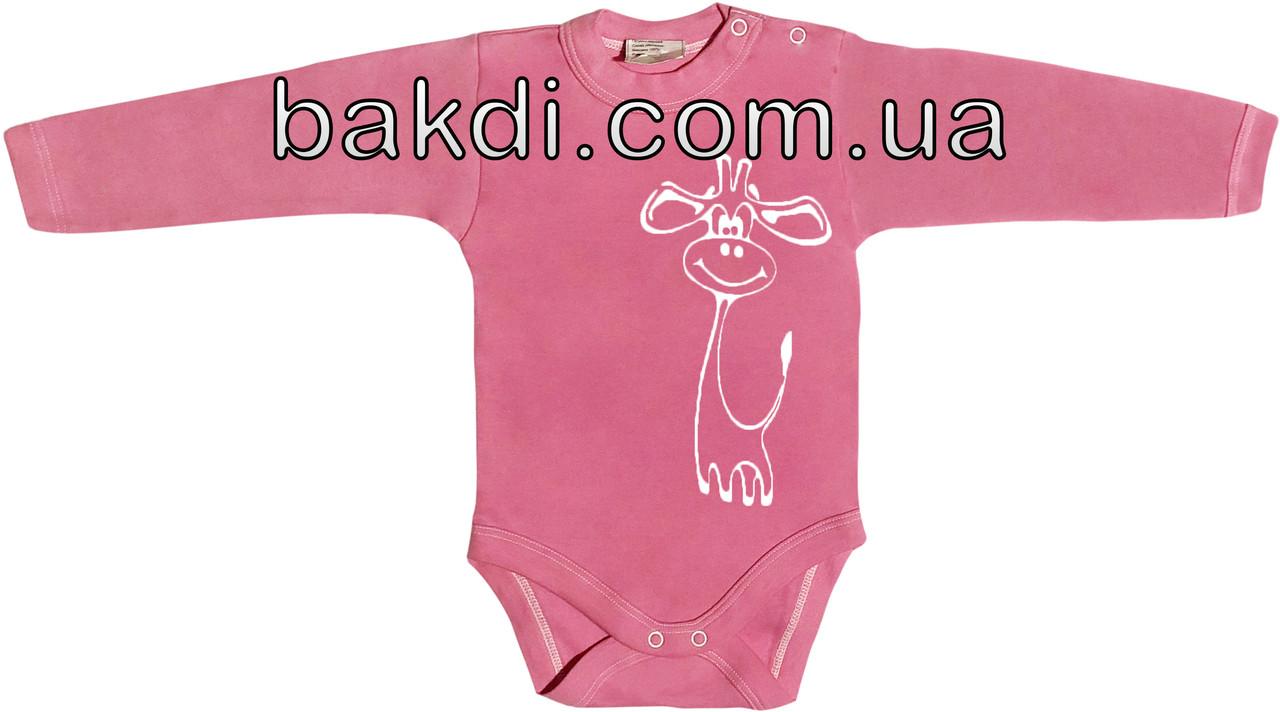 Детское боди на девочку рост 62 2-3 мес для новорожденных трикотажное с длинным рукавом интерлок малиновое