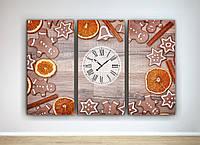 Картина модульная настенный декор часы для кухни Печенье Апелисины Корица Ваниль 90х60 из 3х частей