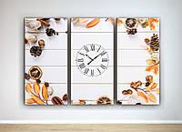 Оригинальный настенный декор для кухни картина с часами Нейтральный фон Натюрморт 90х60 из3-х частей