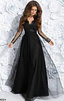 Длинное нарядное вечернее платье габардин+гипюр 42-46 размеров, 2 цвета