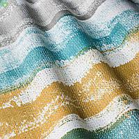 Шторная ткань с размытыми голубыми и коричневыми полосами хлопок 83297v3