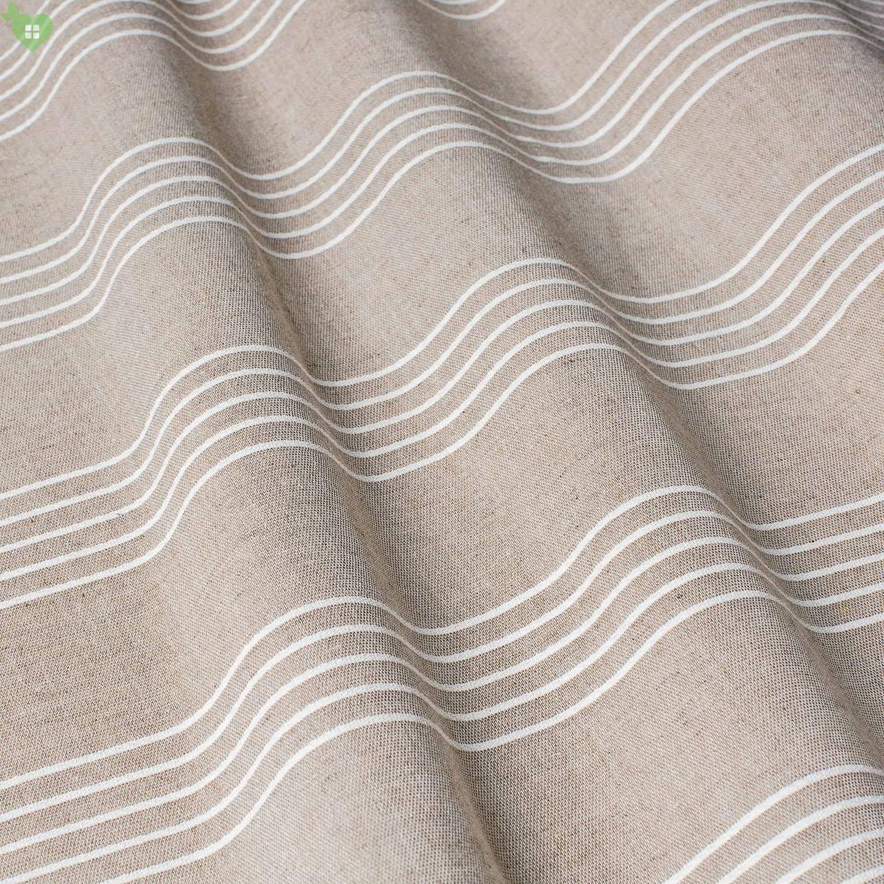 Тюль с тонкими светло-бежевыми полосками на орехово-коричневом фоне 83284v1
