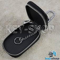 Ключница карманная (кожаная, черная, с тиснением, с карабином, с кольцом), логотип авто BMW (БМВ), фото 3