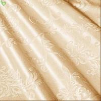 Скатертная, шторная ткань с цветочным узором на золотистом фоне жаккард