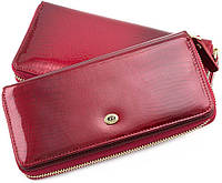 a123431b72b2 Красный женский лаковый кошелек на молнии с блоком для карт Sergio Tadei AE  202