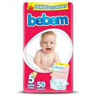 Подгузники одноразовые детские Bebem 5 junior 11-25 кг jumbo 50шт (8690536803934)