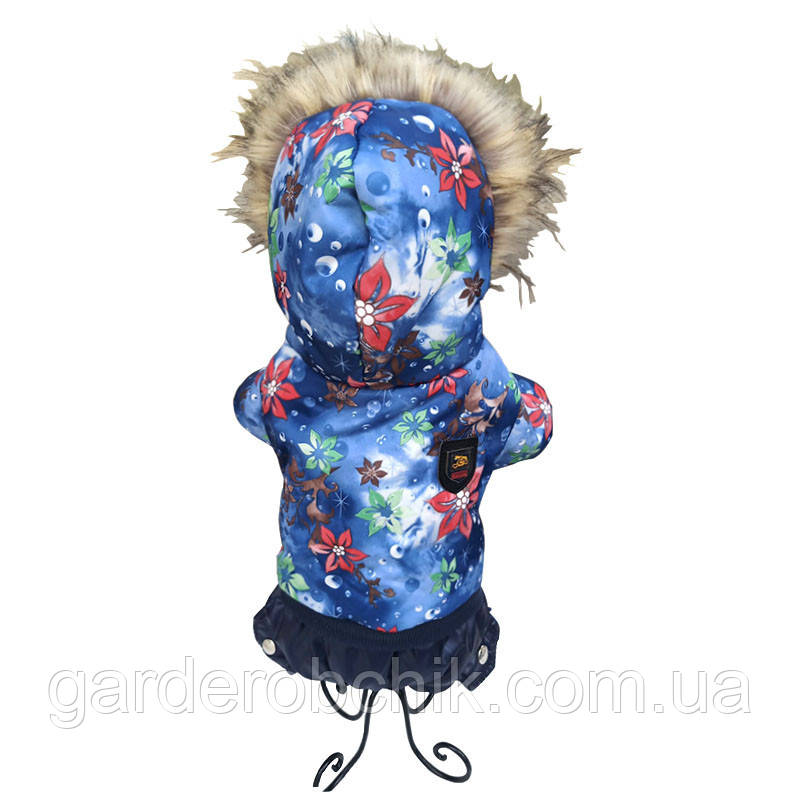 "Комбинезон зимний, костюм ""Сакура Blue"" для собаки. Одежда для собак"