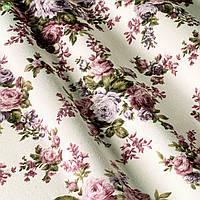 Ткань для штор, подушек с бутонами роз на бордовых веточках хлопок с тефлоном 82193v8
