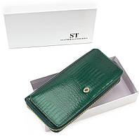 Красивый лаковый женский кошелек на молнии с блоком для карт зеленый Sergio Tadei AE 202