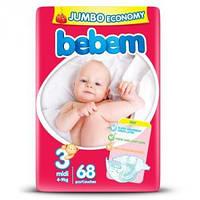 Подгузники детские Bebem 3 Midi Jumbo Pack 4-9 кг 68 шт