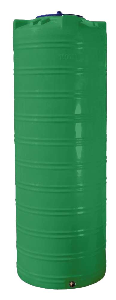 Ємність 1000 л вузька вертикальна двошарова зелена