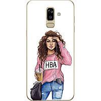 Силиконовый чехол с рисунком для Samsung J810F Galaxy J8 2018 с картинкой Девушка в кофте HBA