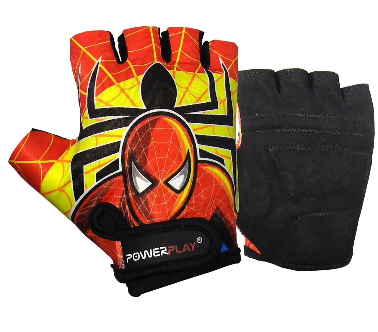 Велорукавички PowerPlay 5473 Spiderman червоно-жовті 4XS