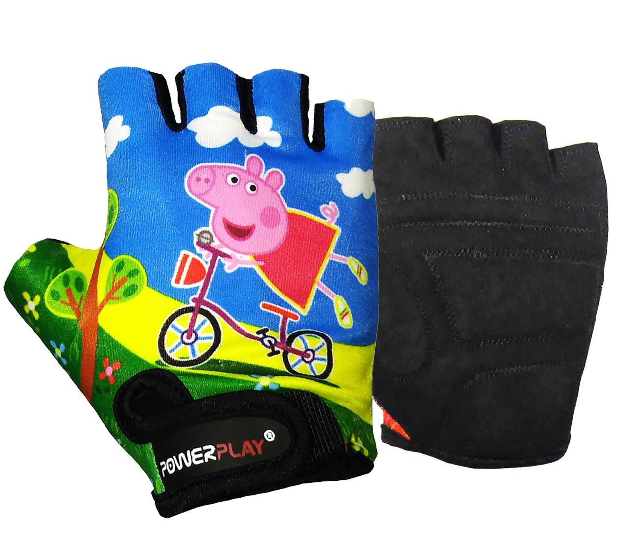 Велоперчатки детские PowerPlay 5473 Peppa Pig голубые 4XS