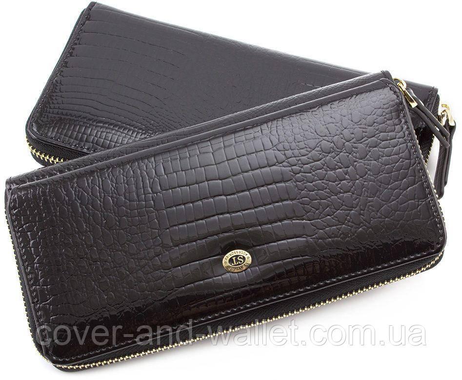 4d96eb9a3507 Черный лаковый женский кошелек на молнии с блоком для карт Sergio Tadei AE  202 - cover