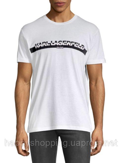 Мужская белая футболка с лого Karl Lagerfeld Paris