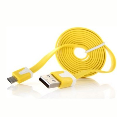 Кабель Micro USB - USB лапша (1м) желтый