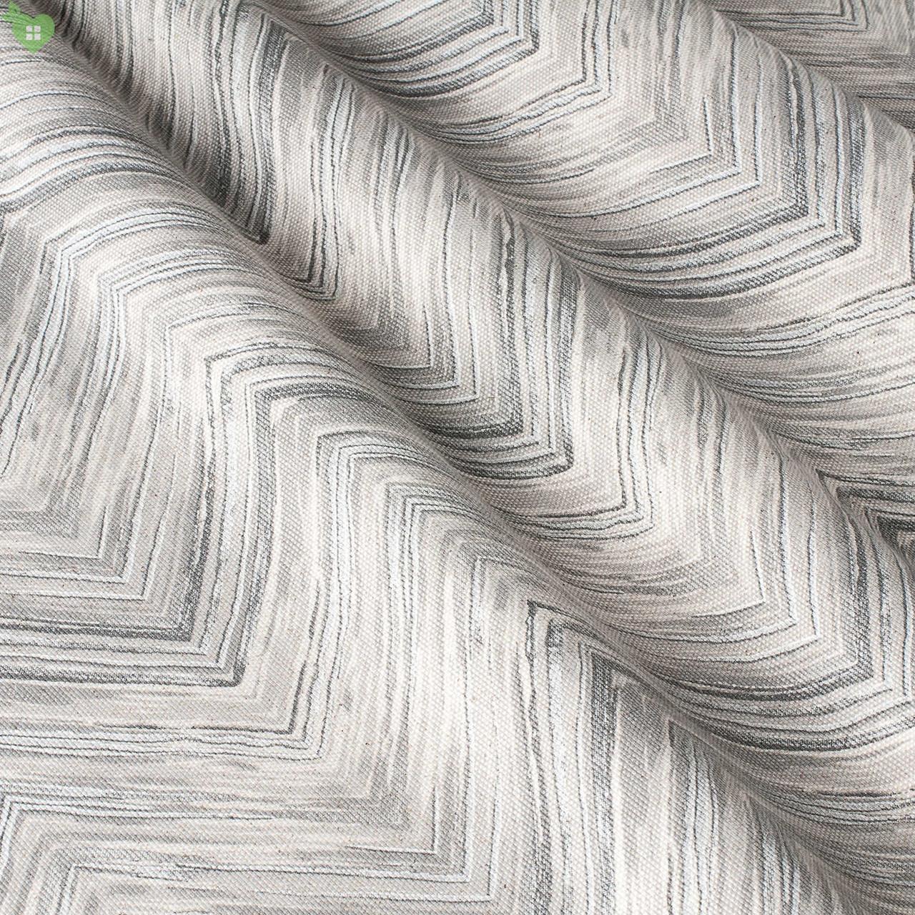 Ткань хлопок-лен для штор, подушек, покрывал в серые тонкие зигзаги 82876v1