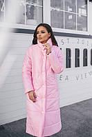 Женская длинная куртка. Розовая, 4 цвета.