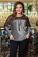 Женская блузка с люрексом и гипюром. Серая, 2 цвета. Р-ры:48-50,52-54,56-58.
