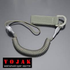 Страхувальний шнур комбінований з D-кільцем (олива)